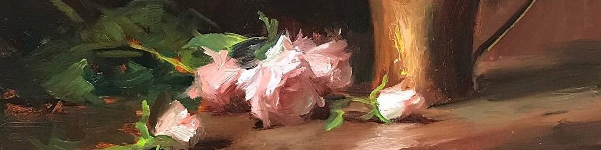 An oil painting of roses and copper by Kelli Folsom