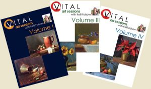 An image of the front covers of the oil painting instruction DVDs titled VITAL Art Sessions, Volumes 1, 3, and 4 by Kelli Folsom