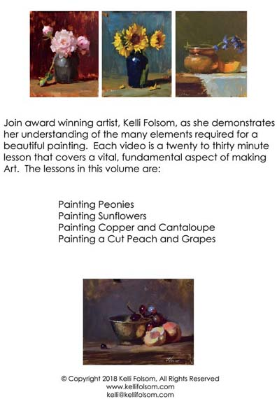 An image of the back cover of the oil painting instruction DVD titled VITAL Art Sessions, Volume 3 by Kelli Folsom
