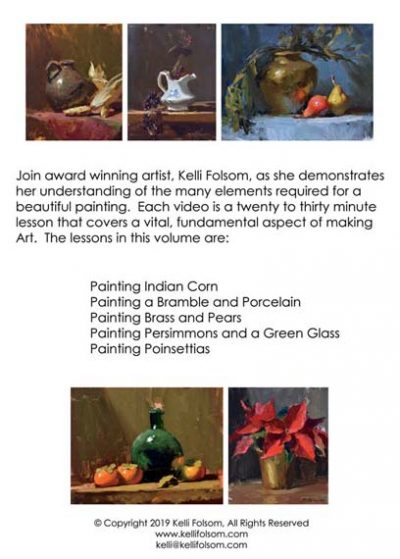 An image of the back cover of the oil painting instruction DVD titled VITAL Art Sessions, Volume 4 by Kelli Folsom