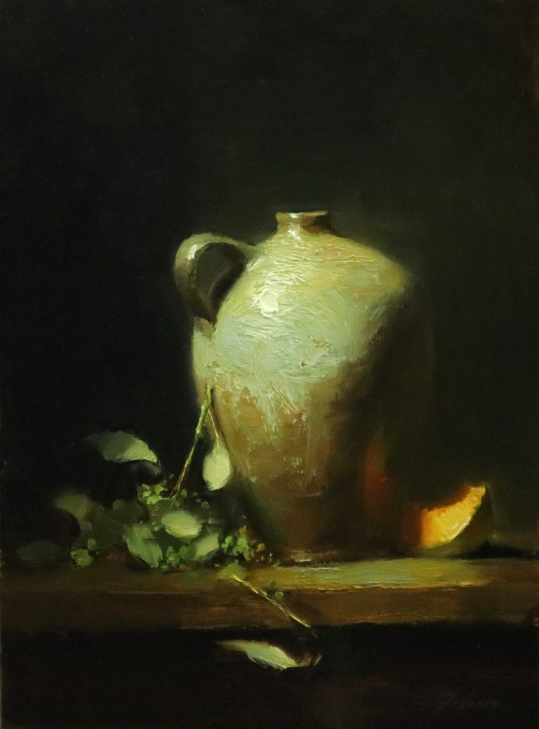 A photo of an original oil painting of a still life titled Salt Glazed Jar and Cantaloupe by Kelli Folsom