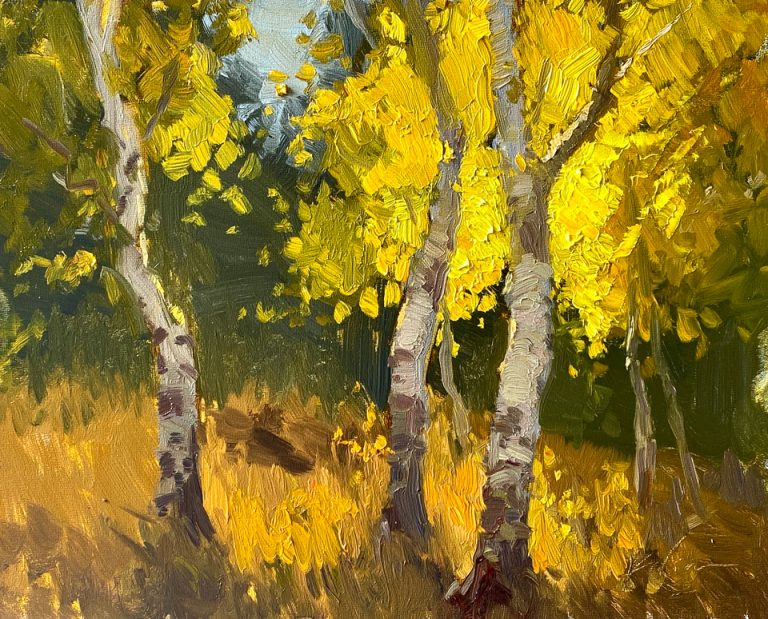 In the Aspen Grove - Painting by Kelli Folsom