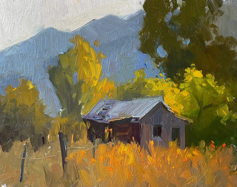 The Old Shed in the Mountains - Painting by Kelli Folsom