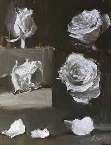 Oil painting in black and white of four roses