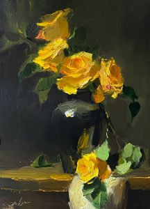 Oil painting of yellow roses in black vase