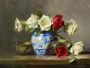 Oil painting of red and white roses in blue and white jar