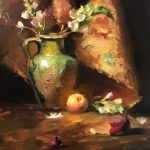 Painting of a Green Confit Jar with Peaches