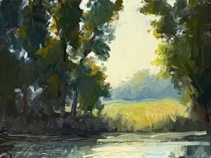 An oil painting of a pond with trees and a clearing beyond