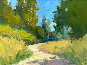 An oil painting of a winding path within a rural setting