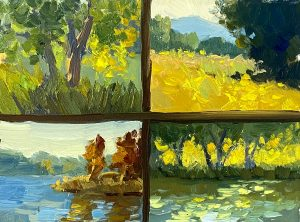 An oil painting divided into 4 equal sections by a line of paint depicting scenes of trees, grass, and ponds.
