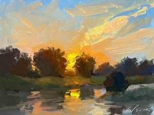 An oil painting of a sunrise