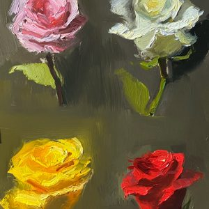 Oil painting of four different color roses