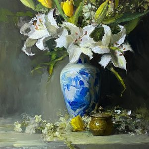Spring White Lilies and Tulips
